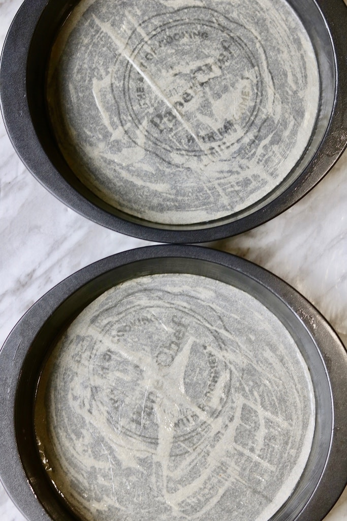2 round prepared baking pans for vegan carrot cake