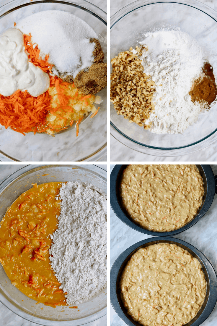 4 picture collage how to make vegan carrot cake