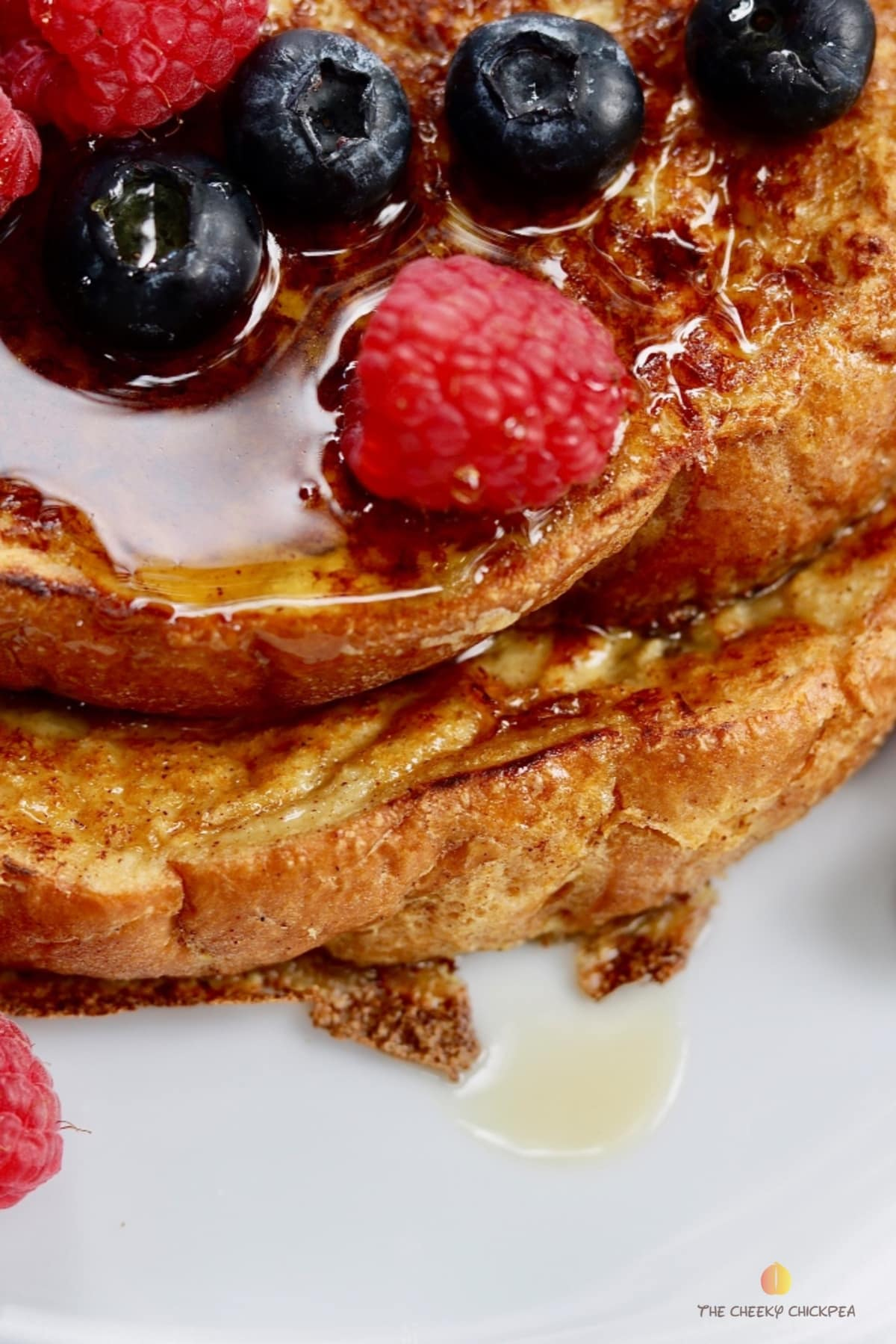 close up of vegan French toast with mixed berries