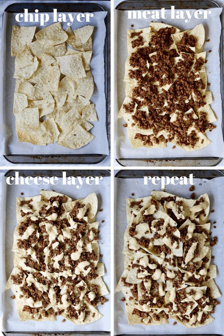 four photo collage how to make vegan nachos