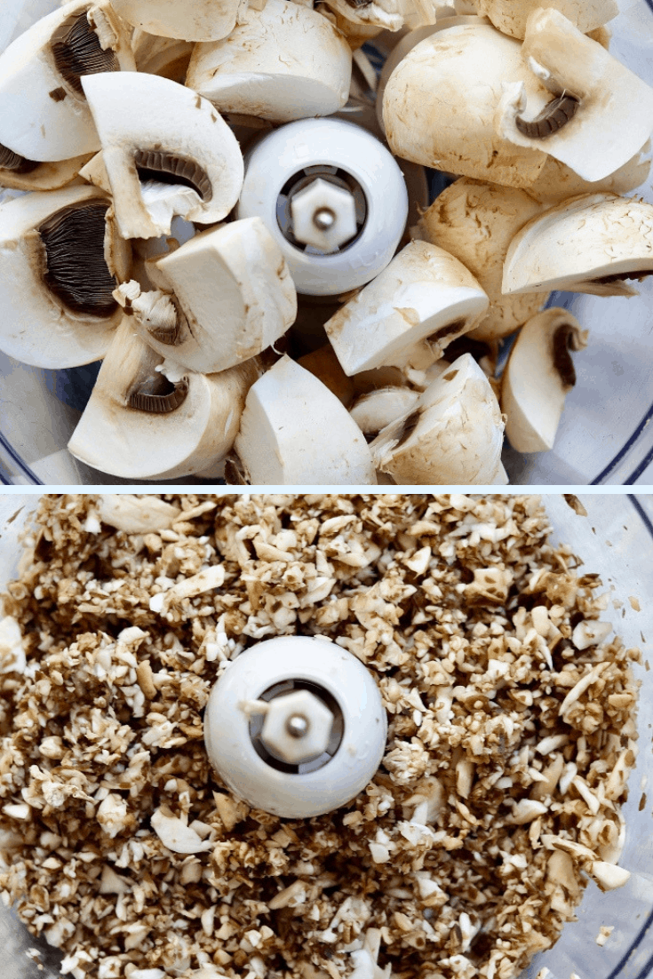 mushrooms in a food processor
