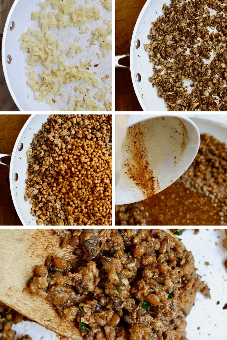 five picture collage how to make vegan taco meat