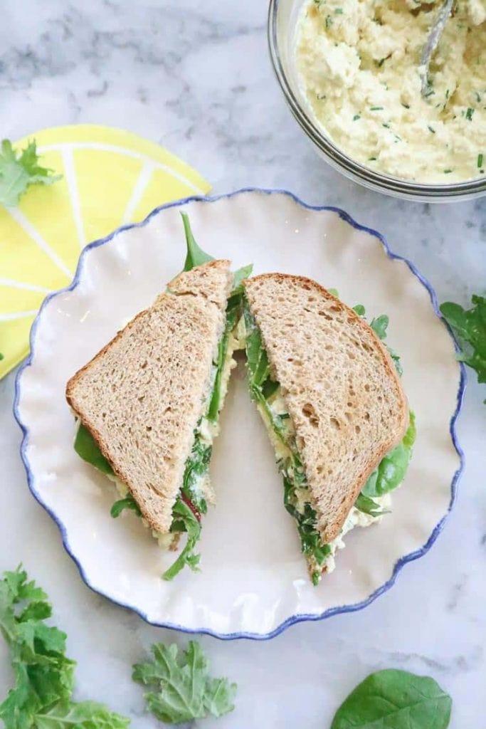 tofu egg salad for vegan potluck recipe roundup