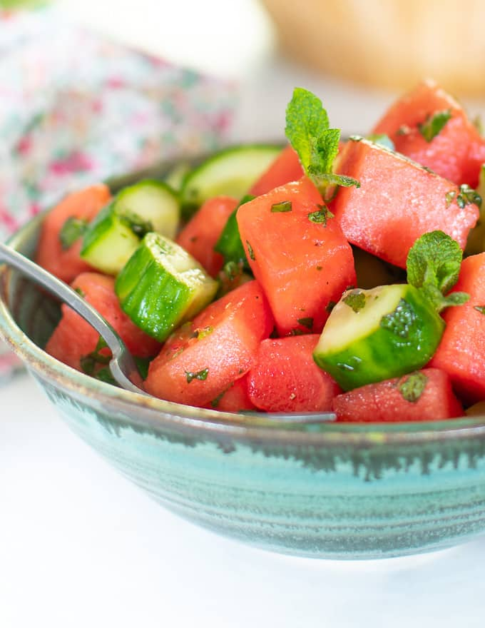 watermelon mint salad for vegan potluck recipe roundup