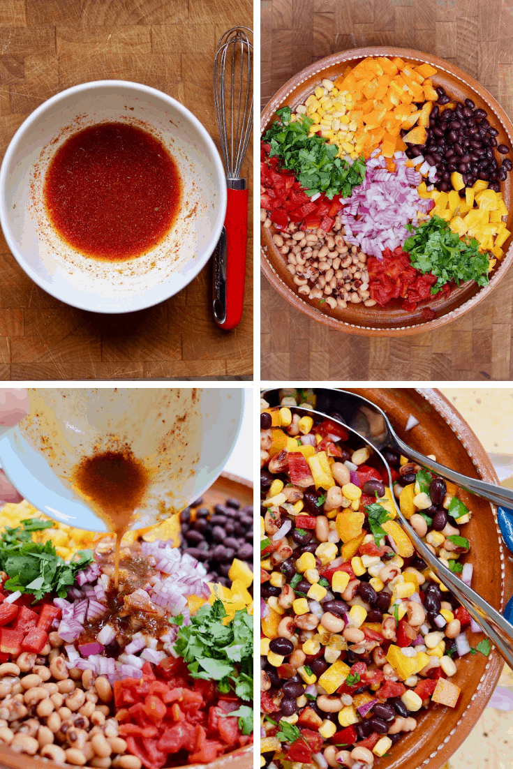 four picture collage how to make 15 minute cowboy caviar