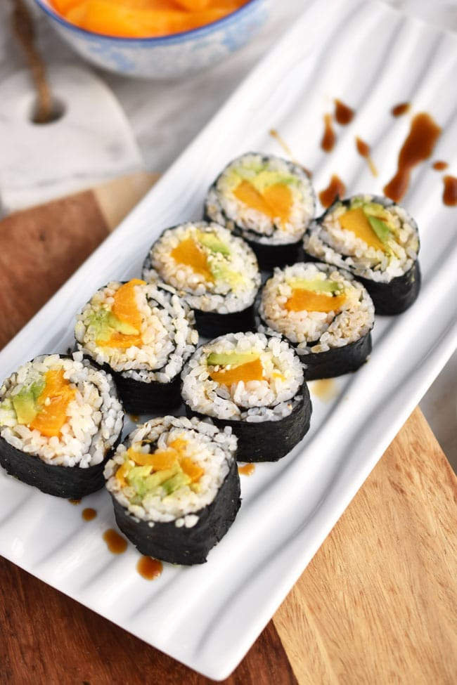 peach avocado sushi for vegan potluck recipe roundup