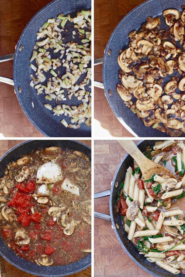 four photo collage spinach mushroom pasta being made in a skillet