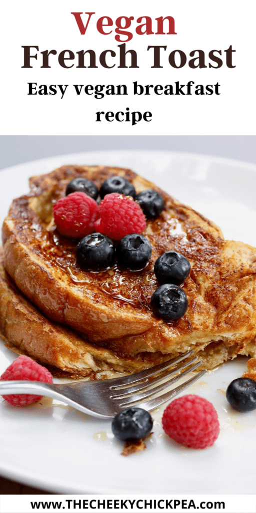 vegan french toast on a plate with syrup and fruit