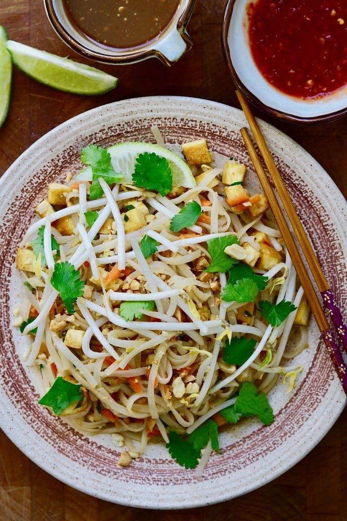 vegan Pad Thai on a plate with chopsticks
