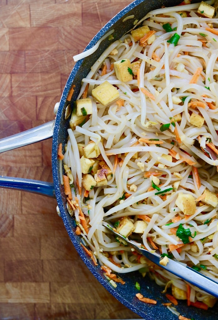 vegan Pad Thai in a skillet