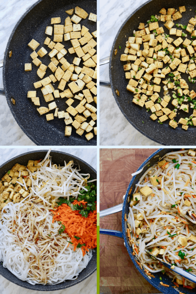 four picture collage of vegan Pad Thai being made in a skillet