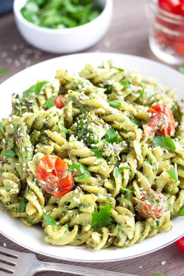 vegan pesto pasta for vegan potluck recipe roundup