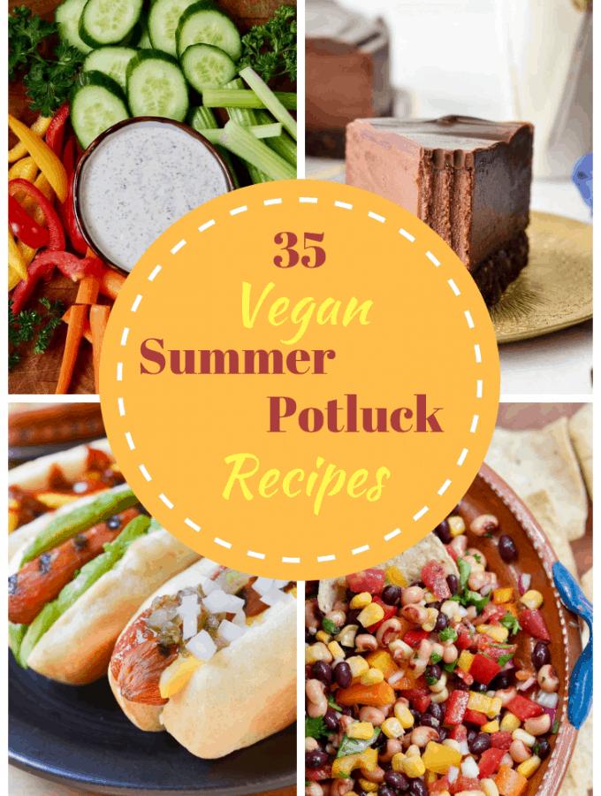 four photo collage of vegan summer recipes