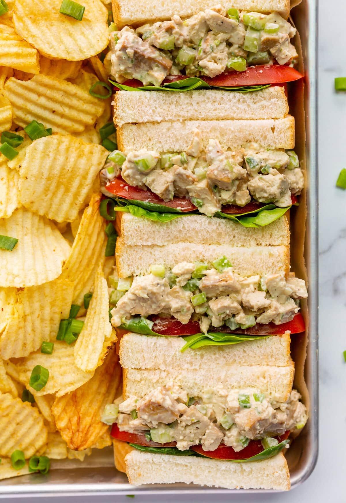 vegan chicken salad for vegan potluck recipe roundup