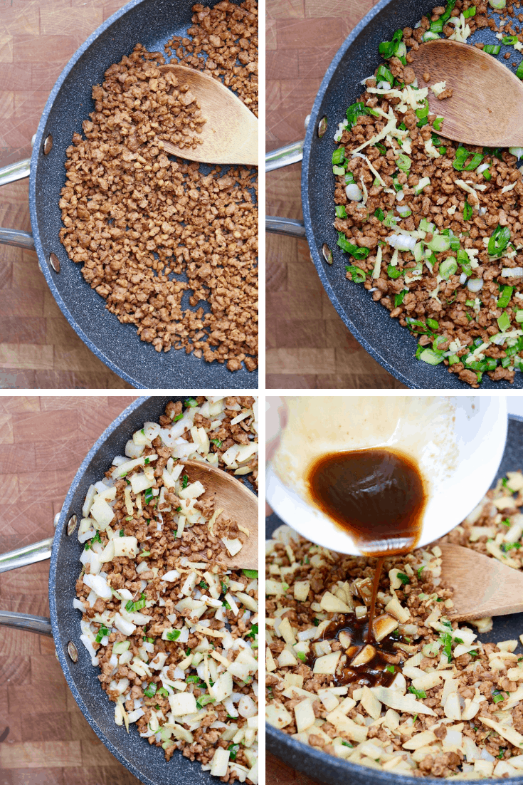 four picture collage how to make 20 minute vegetarian lettuce wraps