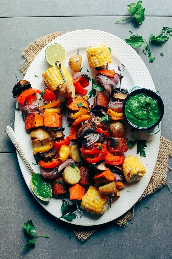veggie skewers for vegan potluck recipe roundup