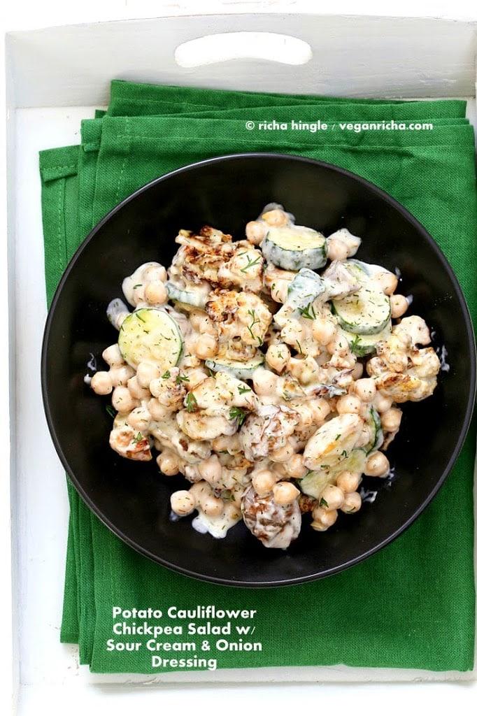 potato cauliflower chickpea salad for vegan potluck recipe roundup