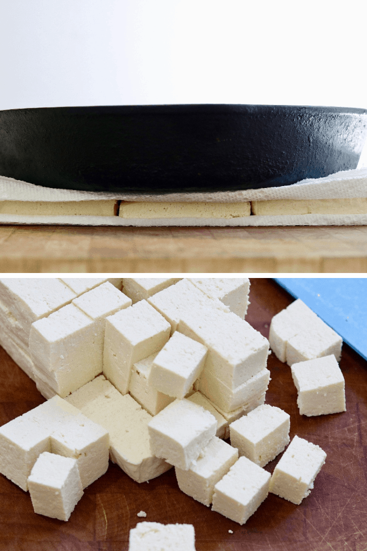 tofu being pressed then cut into cubes