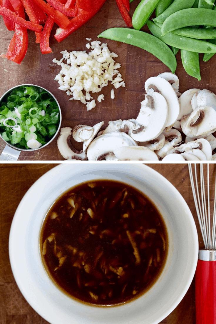 cut up veggies and sauce for tofu stir fry