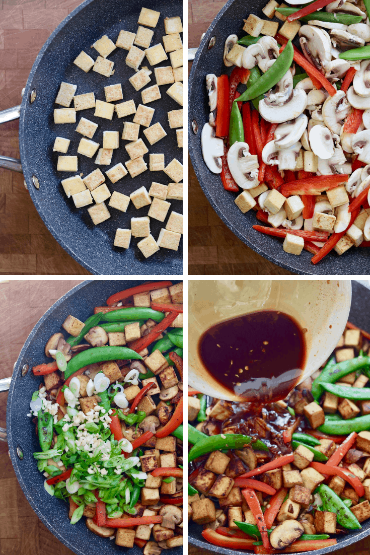 four picture collage of tofu stir fry being cooked in a skillet