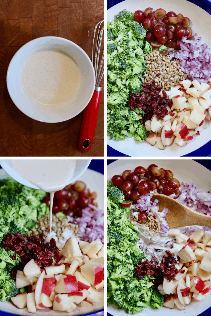 four picture collage how to make vegan broccoli salad