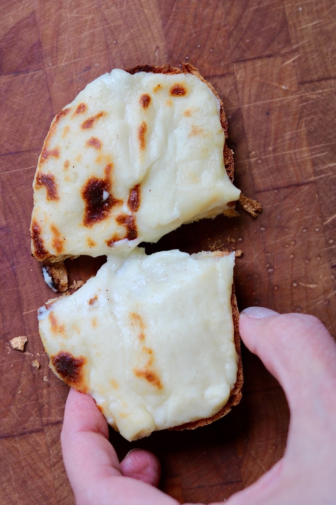 vegan mozzarella melted on toast