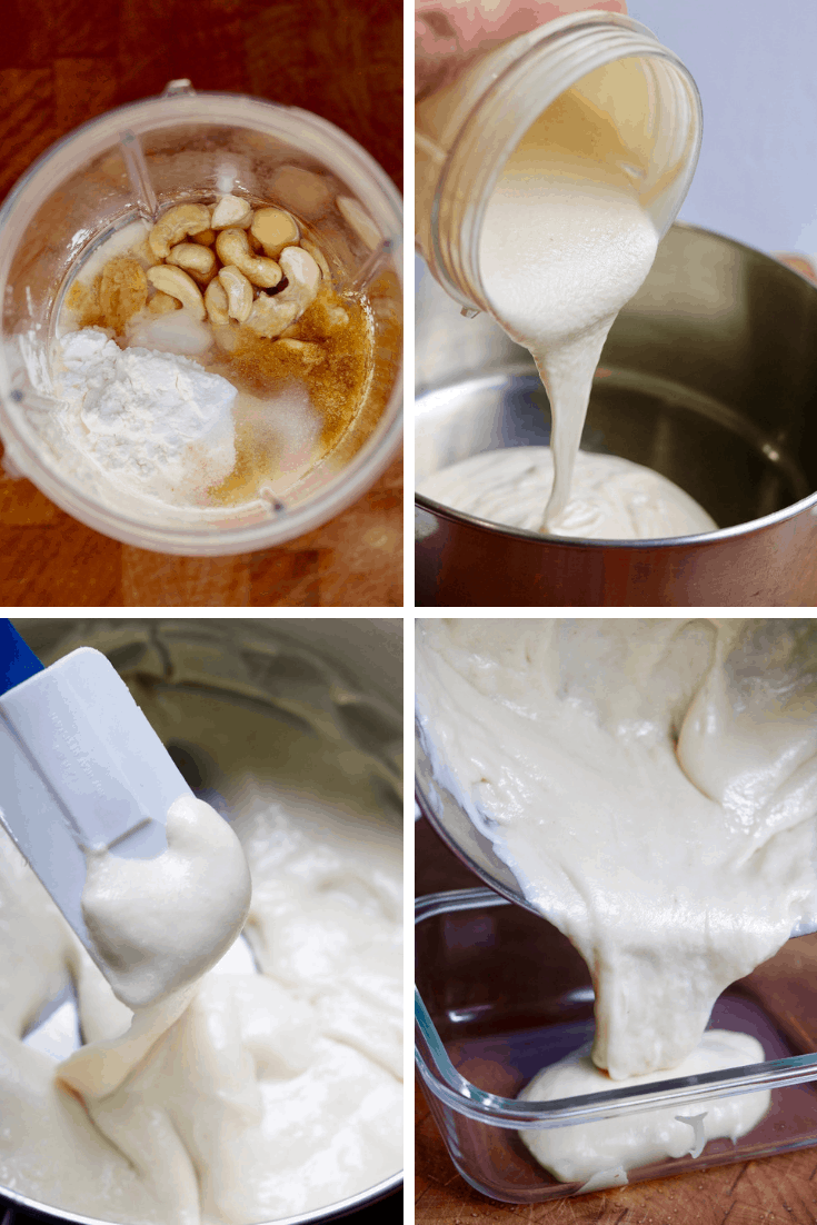 four picture collage how to make vegan mozzarella