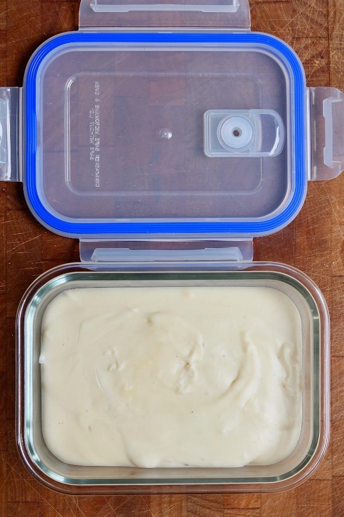 vegan mozzarella in a glass container