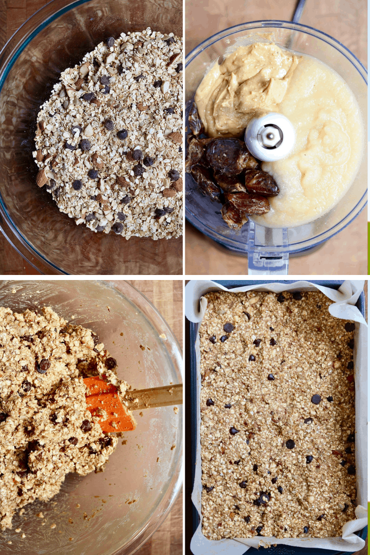 four picture collage how to make healthy oatmeal breakfast bars