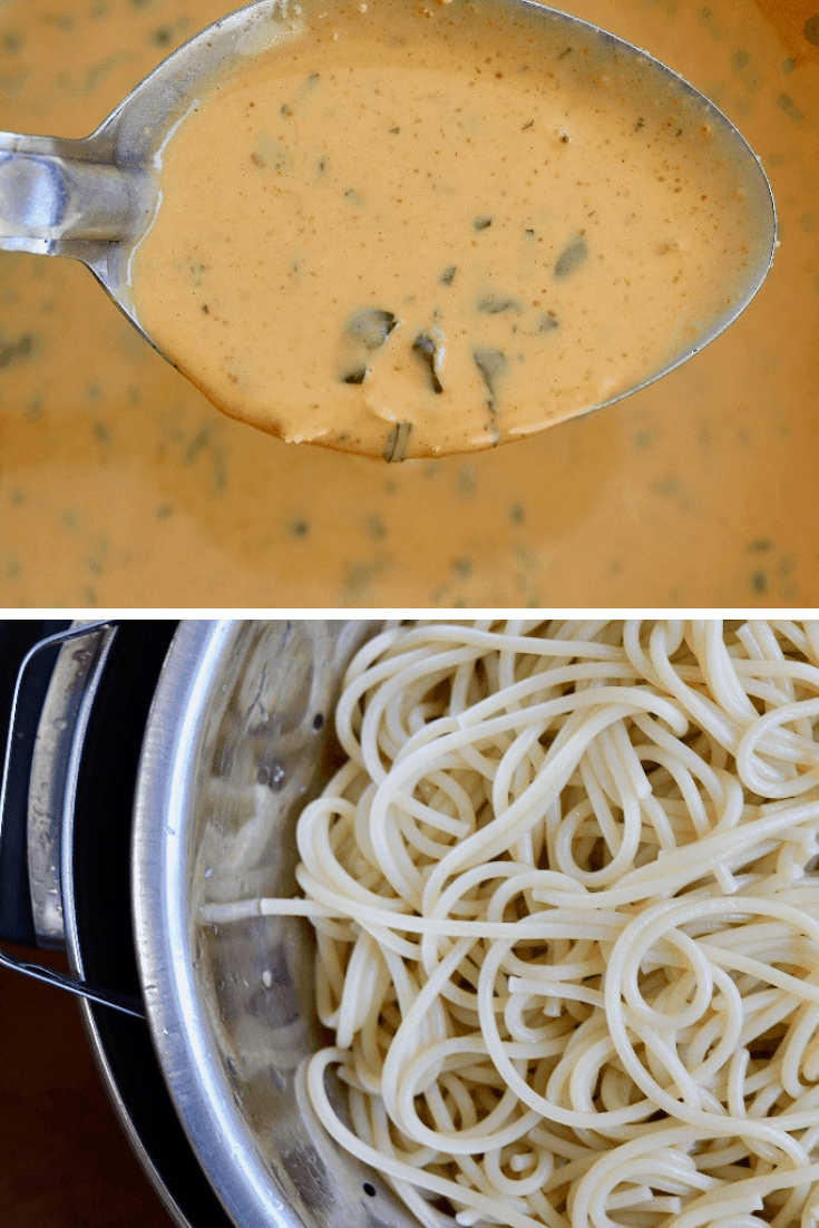 a picture of peanut sauce in a pot and spaghetti noodles in a colander
