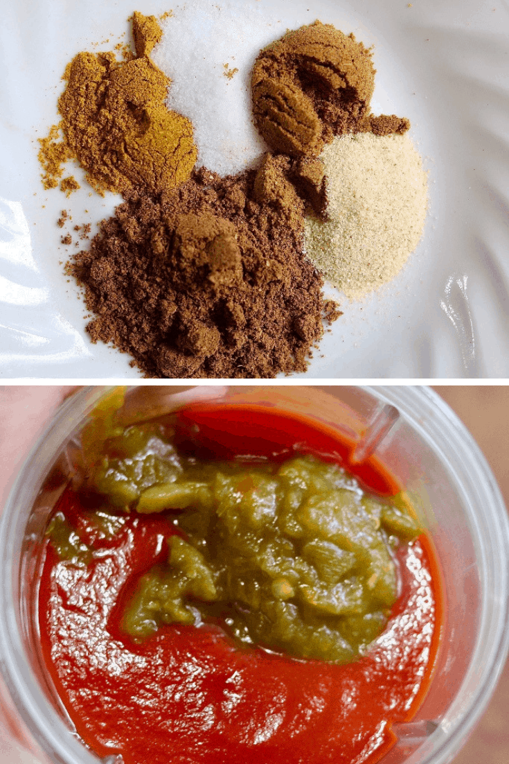 spices, tomato sauce and green chilies for butter chicken