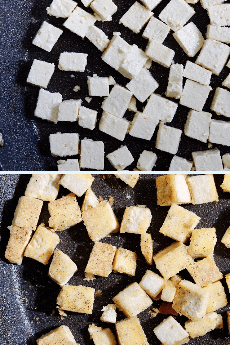 tofu being fried in a pan for vegan butter chicken recipe