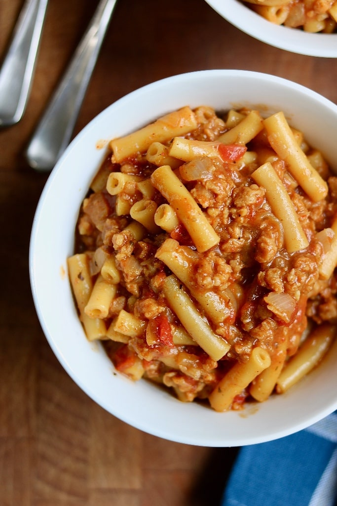 vegan hamburger helper in a white bowl