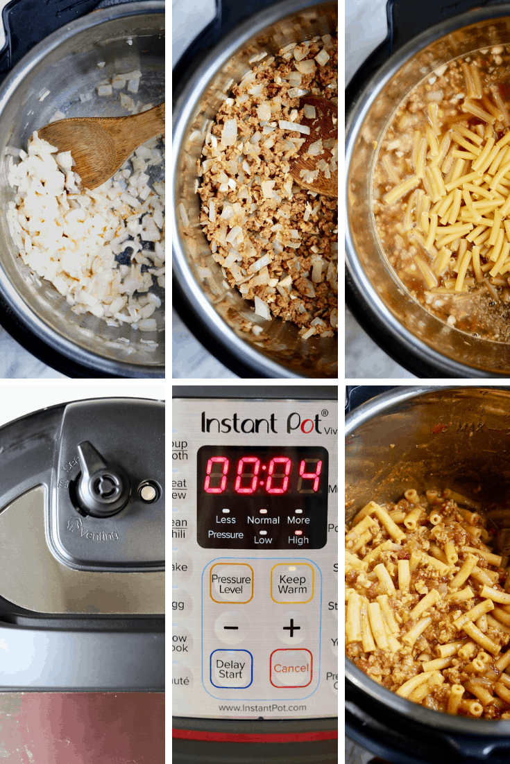 four picture collage how to make vegan hamburger helper in an instant pot