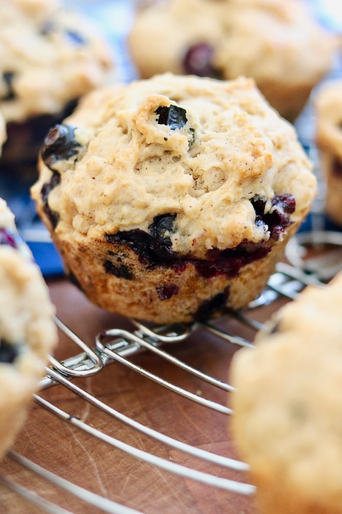 vegan blueberry muffin on a cooing rack
