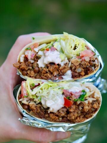 vegan burrito being held in the air