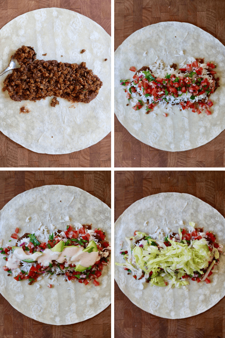 step by step photos how to assemble a vegan burrito