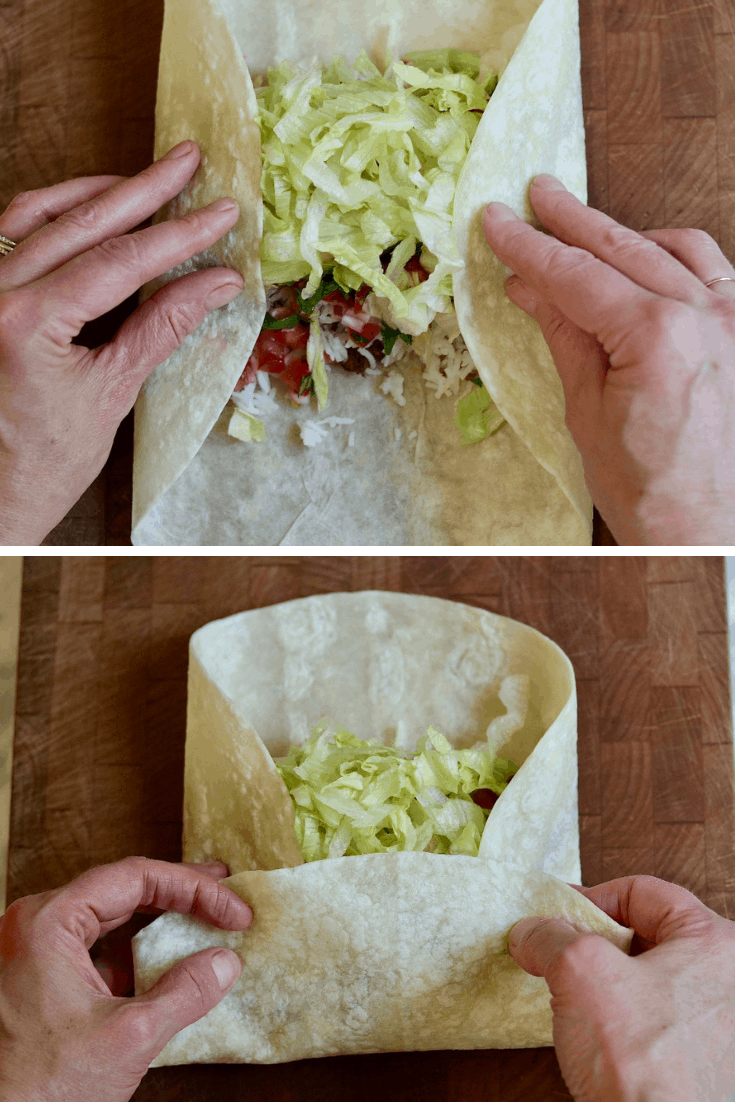 step by step photos how to roll a burrito