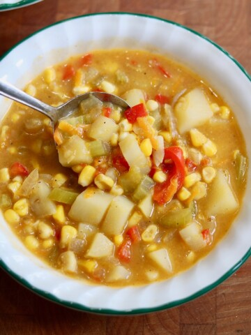 vegan corn chowder in a white bowl