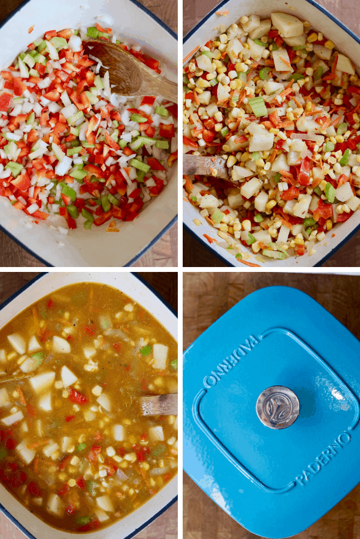 step by step photos how to make vegan corn chowder