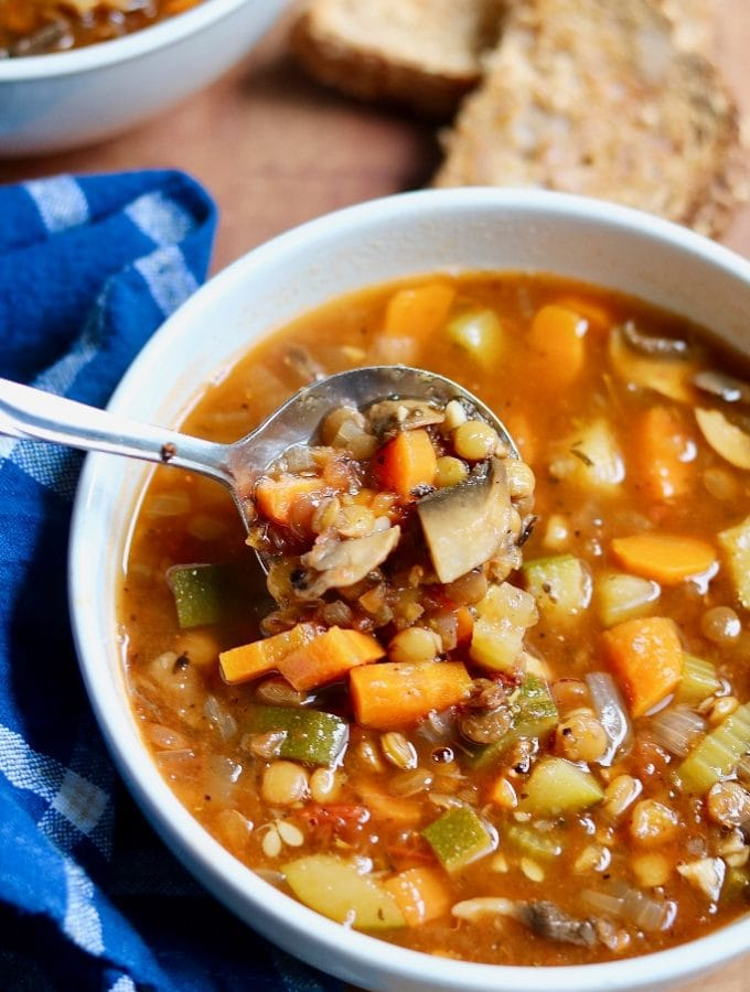 vegan lentil soup in a white bowl with a spoon