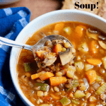 lentil soup in a white bowl