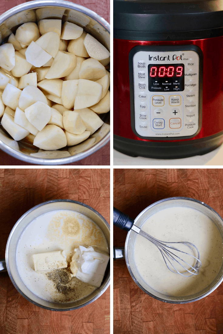 step by step photos how to make instant pot mashed potatoes and butter mixture