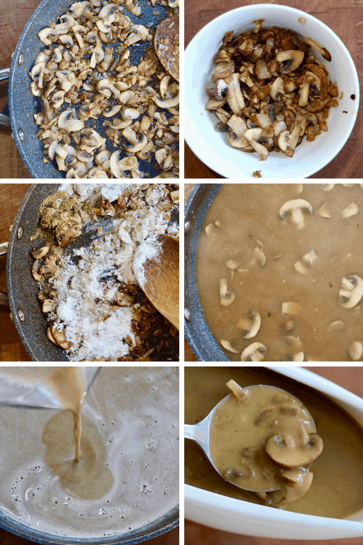 step by step photos how tom make vegan mushroom gravy