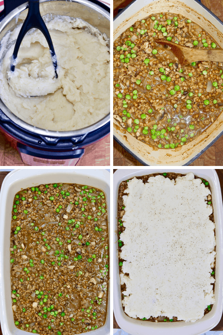 four step by step photos how to make vegan shepherd's pie