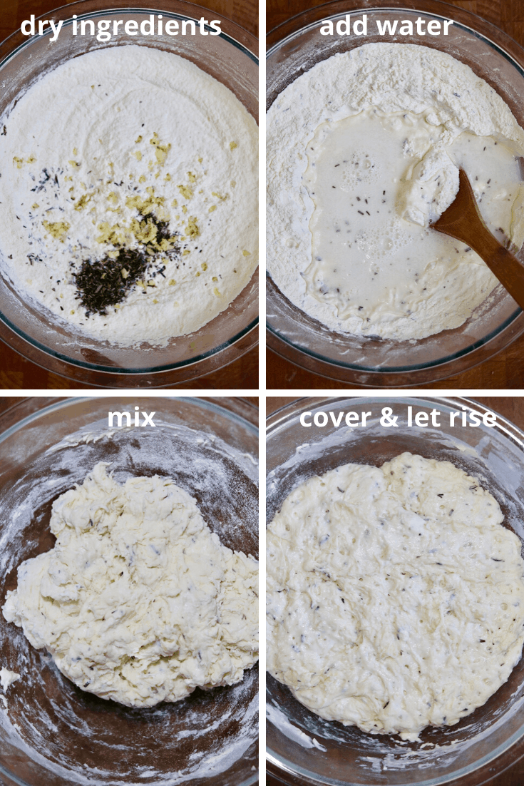 step by step photos how to mix and rise dough for no knead bread