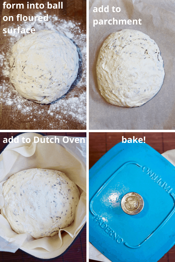 step by step photos how to shape and bake dough for no knead bread
