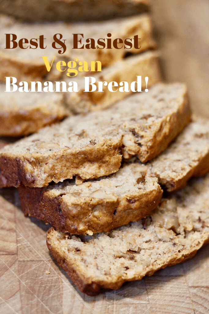 vegan banana bread sliced