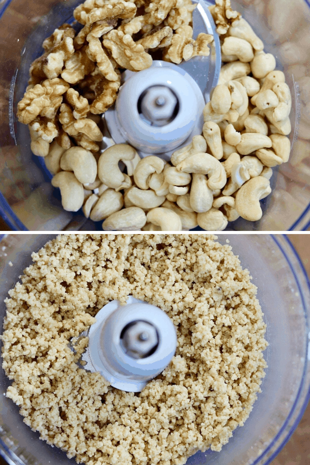 walnuts and cashews in a food processor