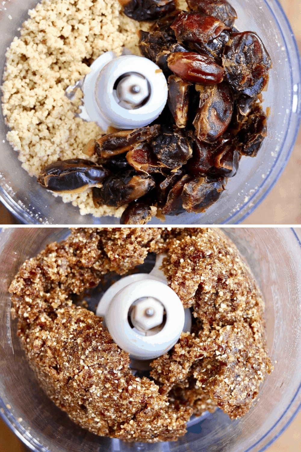 dates being added to nuts in the food processor
